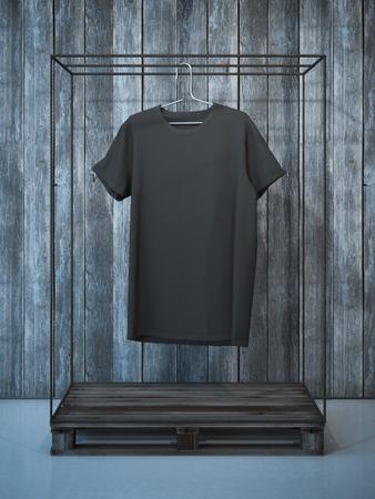 Leeg zwart t-shirt op oude hanger. 3D-rendering Stockfoto