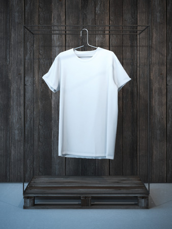 shop interior: Blank white t-shirt on ancient hanger. 3d rendering