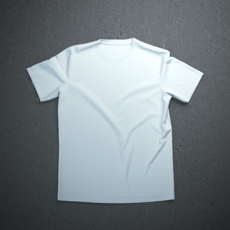 White t-shirt isolated on the concrete background