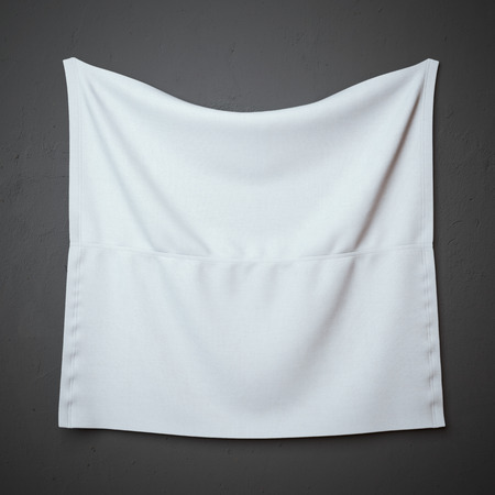 fabric label: White banner with folds on the wall