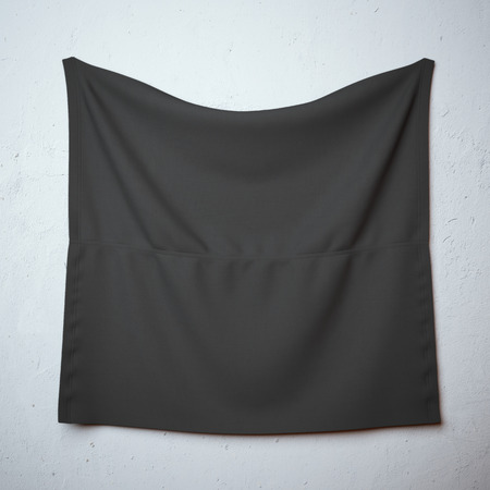 wrinkly: Black banner with folds on the wall Stock Photo