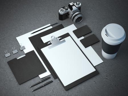 Black branding mockup on the concrete floor