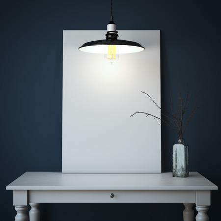 テーブルと空白のキャンバスとインテリア。3 d レンダリング 写真素材
