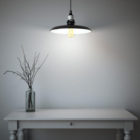 Interieur met tafel en zwarte lamp. 3D-rendering