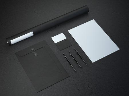 vintage document: Black mockup on the dark paper background. 3d rendering