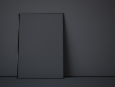 frame wall: Black picture frame in dark interior. 3d rendering Stock Photo
