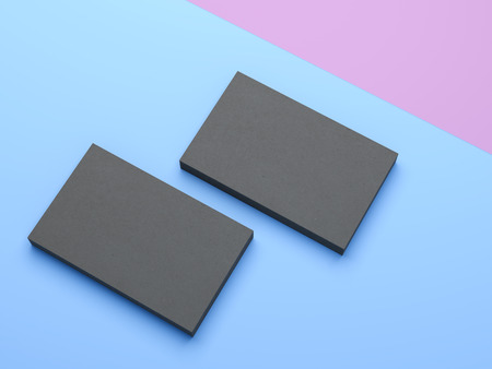 businesscard: Two black business cards on the blue background Stock Photo