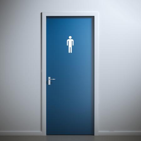 blauwe wc deur voor mannelijk geslacht. 3D-rendering Stockfoto