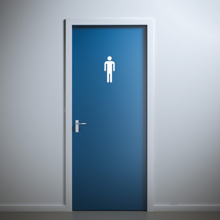public restroom: blue toilet door for male  gender. 3d rendering