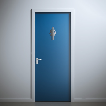 blue toilet door for female  gender. 3d rendering Stok Fotoğraf