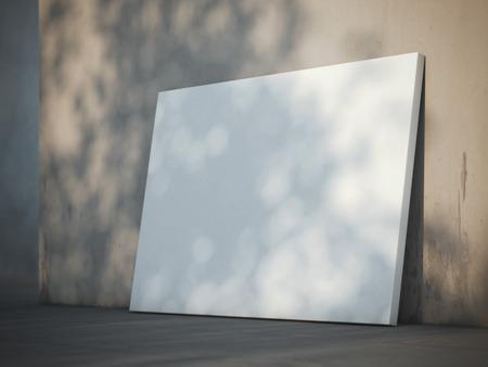 Blank poster near the plaster wall. 3d rendering Reklamní fotografie