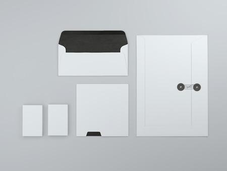 envelope: White mock up with folder and envelope