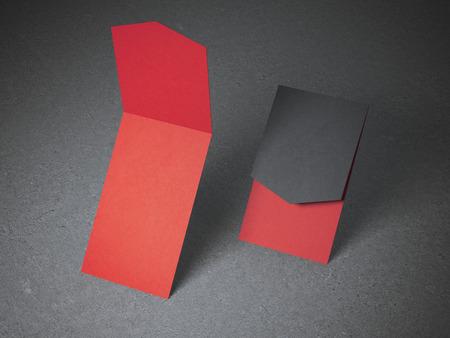 Deux cartes d'affaires rouges ouvertes sur le sol en béton Banque d'images - 44125688