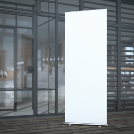 blank wall: Roll up banner near modern cafe. 3d rendering