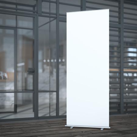 spruchband: Rollen Sie oben Fahnen in der Nähe von modernen Cafe. 3D-Rendering