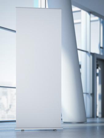 Blank roll up banner in de moderne kantoor met kolom. 3D-rendering Stockfoto