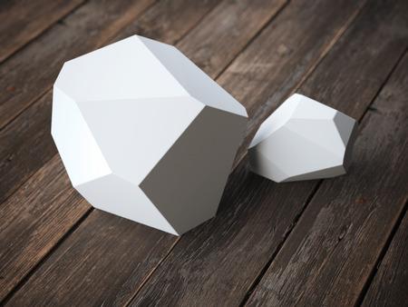 polyhedron: Two white polyhedron on the wooden floor