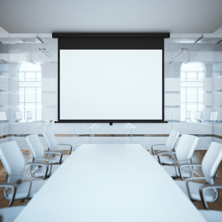 presentation screen: Black projector screen in a meeting room. 3d rendering