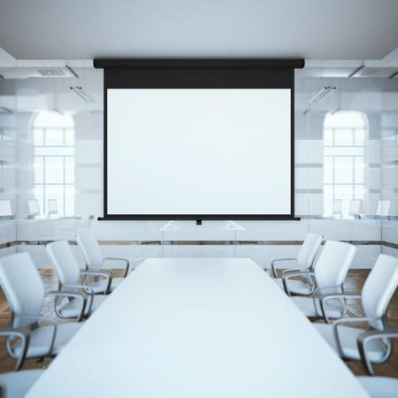 Zwart projectiescherm in een vergaderruimte. 3D-rendering
