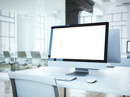 Blank computer screen with white chair in office. 3d rendering