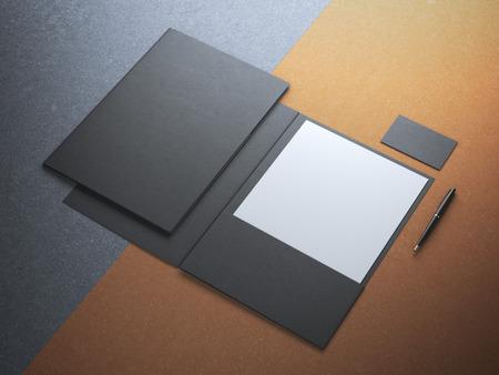 kraft: Black folder with white paper sheet on kraft paper