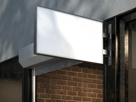 Wit bord op een vintage winkel. 3D-rendering
