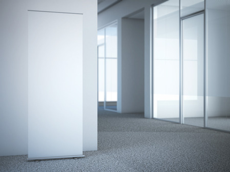 Blank roll up banner at the modern office with glass doors. 3d rendering