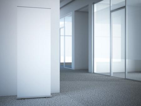 Blank Roll-up Banner im modernen Büro mit Glastüren. 3D-Rendering