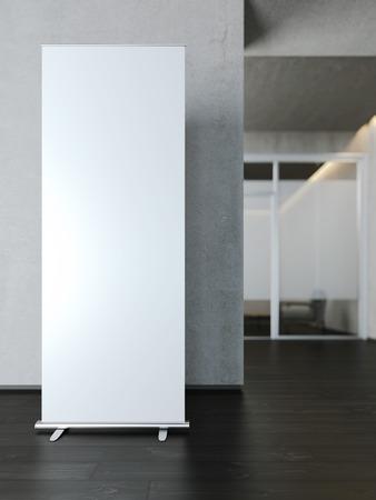 segno: Bianca in bianco rotolo di banner vicino al muro di cemento. Rendering 3D