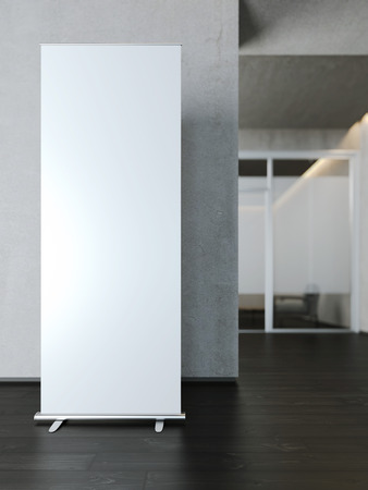 banner ads: Blank white roll up banner near concrete wall. 3d rendering