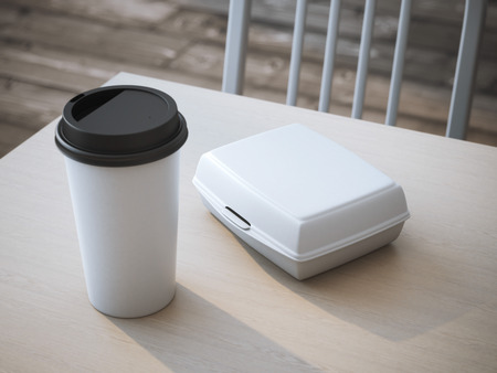 White lunch box with blank paper cup of coffee. 3d rendering Foto de archivo