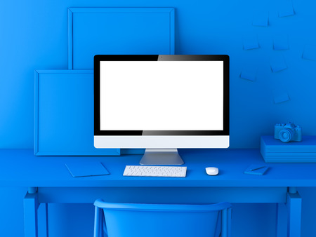 Abstract blue modern workspace with blank computer screen. 3d rendering Banco de Imagens