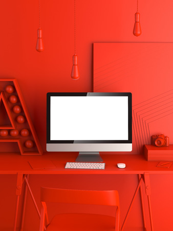 Abstract red modern workspace with blank computer screen. 3d rendering