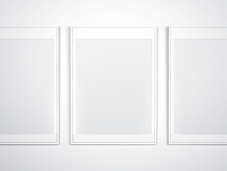 White Wall With Blank Modern Empty Frames Stock Photo, Picture And ...
