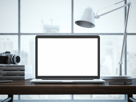 blank screen: Modern workspace with laptop and silver lamp. 3d rendering