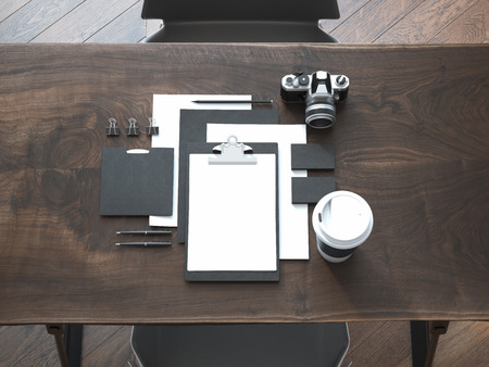 branding: Black branding mockup on the luxury wooden table. 3d rendering
