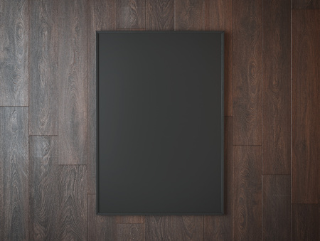 stationary: Black picture frame on brown  wooden wall