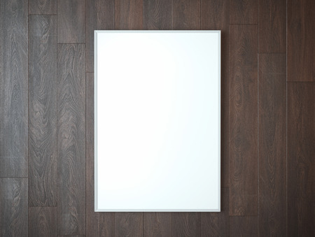White picture frame on brown  wooden wall Zdjęcie Seryjne