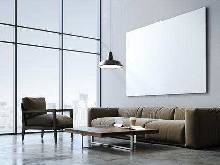 Hormigón: loft moderno con el lienzo en blanco y muebles de estilo. Las 3D