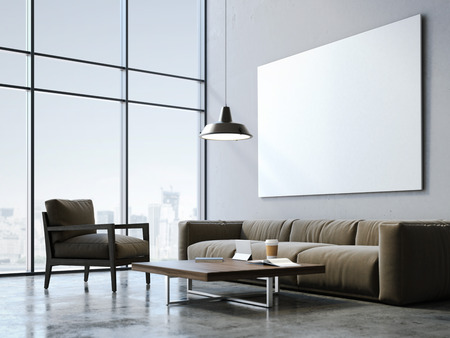 concrete structure: Modern loft studio with blank canvas and stylish furniture. 3d rendering