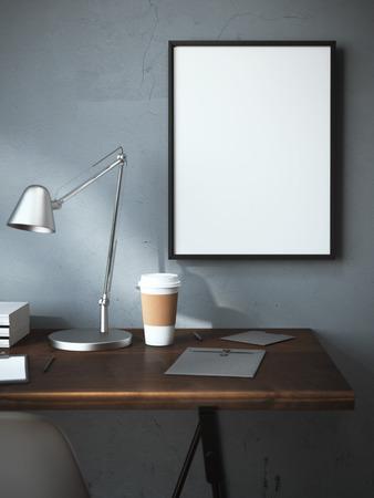Werkplek met kop en leeg frame op de muur. 3D-rendering