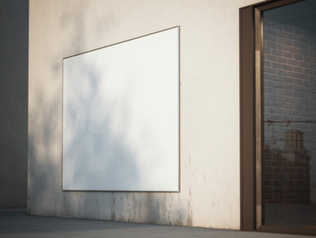 white poster: Square billboard on an old wall in the alley. 3d rendering Stock Photo
