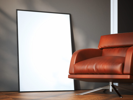 billboard: Blank frame in modern interior with red arm chair. 3d rendering