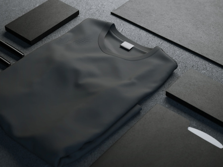 apparel: Dark mockup with blank t-shirt and business cards