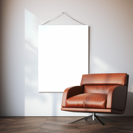 office wall: Blank canvas in modern interior with red arm chair