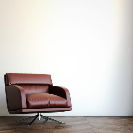 modern chair: Red arm chair against a white wall. 3d rendering