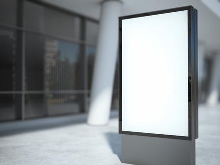 blank board: Blank metal advertising stand near modern building. 3d rendering