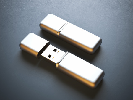flash drive: Opened and closed flash drives on the table