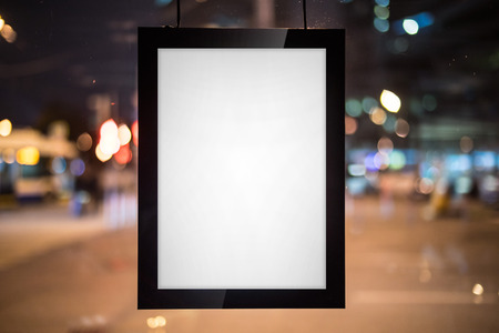 blank sign: Black blank canvas on the clear window