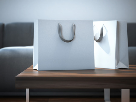 Ttwo white packages on a wooden table. 3d rendering Archivio Fotografico